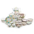 English porcelain tea sets two 20th c one twentytwo piece luster set comprised of teapot creamer two bowls and nine cups and saucers and one fourteenpiece floral decorated set comprised of tea