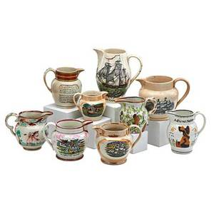 Early english pitchers nine early 19th c two liverpool type with clipper ship decoration two admiral nelson four lusterware and one staffordshire all with condition issues tallest 8 14
