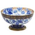 Doulton burslem punch bowl footed base with blue floral decoration and gilt highlights late 19th c marked 9 x 16 dia