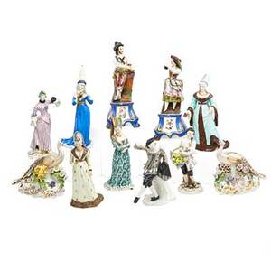 Continental porcelain figures eleven late 19thearly 20th c six court figures pair of gypsies lemon seller and pair of pheasants most marked tallest 10
