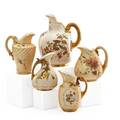 Royal worcester porcelain pitchers five in various forms with painted decoration late 19th c all marked tallest 8 12