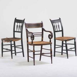 Chair group federalstyle grainpainted armchair together with two arrowback side chairs 20th c painted wood rush seats unmarked armchair 34 12 x 21 x 20