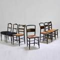 Chair group seven stenciled chairs three hitchcock two ladder back two ballroom 20th c ebonized or stenciled wood all with rush or upholstered seats all unmarked hitchcock 35 x 17 12 x 1