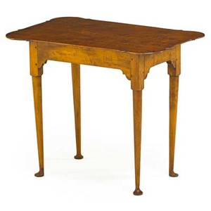 Eldred wheeler queen annestyle tavern table curly maple 20th c 27 x 32 12 x 21 12