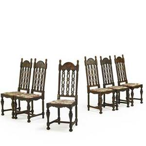 American william and mary style side chairs set of six in oak each with a pierced slat back padded dropin seat and turned legs 20th c 47 x 18 x 17 12