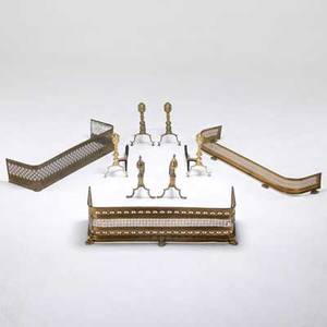 Fireplace accessories three fenders with claw feet and three pairs of andirons 19th c brass and cast iron all unmarked tallest 17 14