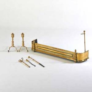 Assembled federal brass fireplace set pair of andirons fender poker and tongs early 19th c andiron 24