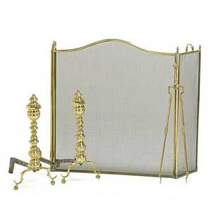 Federal brass fireplace set pair of andirons with tongs and firescreen mid 19th c one andiron lacking finial andirons 21