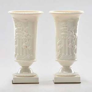 Lenox pair of small urn table lamps decorated with classical architecture 20th c glazed earthenware brass unmarked 11 x 5 12 dia