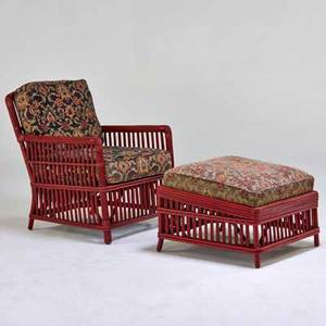 Palecek chair and ottoman san francisco ca 1990s upholstery and reed chair with metal label chair 35 x 27 x 34