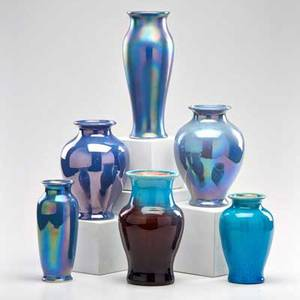 Pisgah forest cowan two pisgah forest vases in blue and purple glazes and four cowan vases in iridescent blue glaze usa first half 20th c all marked tallest 9 34