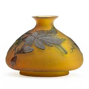 Galle cameo glass vase with acid etched floral and leaf decoration early 19th c marked 5 12 x 4 12 dia