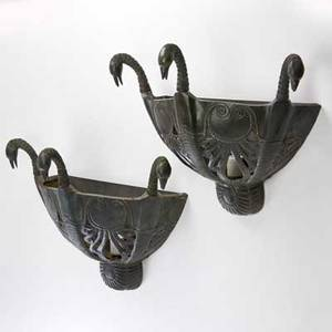 Style of armandalbert rateau pair of bronze sconces with verdigris patina each decorated with three bird heads 20th c both unmarked each 17 x 18 x 9