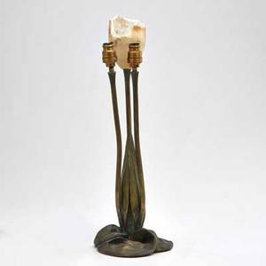 Albert cheuret 18841966 trois tulipes table lamp base france early 20th c bronze and remnants of one alabaster shade signed 14 34 x 5 dia