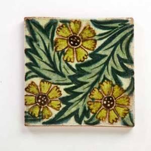 William de morgan art nouveau ceramic tile with flowers england ca 1890 impressed mark 1 14 x 5 sq