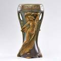 Ernst wahliss amphora two handled vase with maidens and bats turnteplitz bohemia 18991918 marked 15 12 x 7 dia