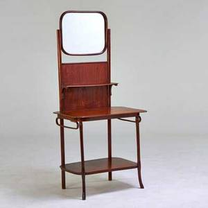 J  j kohn dressing stand austria 1890s stained beech and mirrored glass paper label 69 x 32 x 21