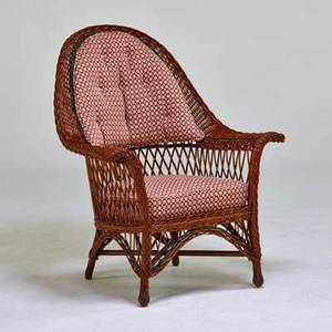 Heywood wakefield attr wicker lounge chair with upholstery usa ca 1920s unmarked 41 x 34 x 29