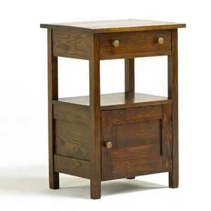 Leavens arts and crafts nightstand boston ca 1915 quartersawn oak brass unmarked 29 x 20 x 16