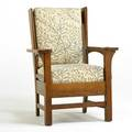Stickley brothers wingback chair grand rapids mi ca 1920 quartersawn oak reproduction william morris upholstery remnants of paper label 39 12 x 29 34 x 27