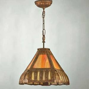 Arts and crafts panel glass ceiling fixture early 20th c slag glass and patinated metal unmarked 16 x 12