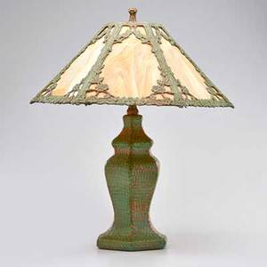 Arts and crafts hexagonal copper table lamp with floral overlay slag glass shade and verdigris patina usa ca 1915 unmarked 22 12 x 22 dia