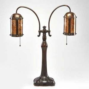 Handel double student lamp with hammered metal and mica shades meriden ct early 20th c patinated metal unmarked overall 24 x 20 dia