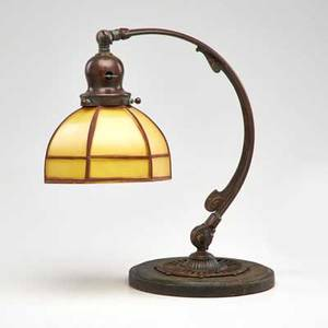 Handel student lamp with glass shade meriden ct early 20th c patinated metal bronze glass unmarked overall 13 x 15 dia