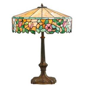 Arts and crafts table lamp with leaded slag glass shade early 20th c patinated white metal unmarked 23 12 x 18 dia