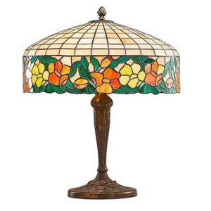 Arts and crafts table lamp with leaded slag glass shade early 20th c patinated white metal unmarked 24 x 18 dia