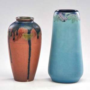Lenore asbury charles mclaughlin rookwood two vellum vases each with floral decoration cincinnati oh 191517 both marked taller 7 34