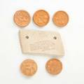 George ohr five brothel coins and original price tag stamped with a biloxi welcome biloxi ms 18881910 price tag with impressed mark price tag 2 x 3 14 x 14