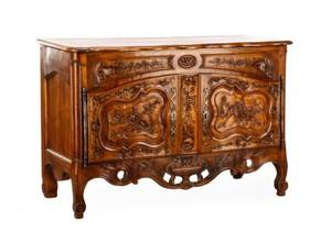 19th C French Provincial Carved Walnut Buffet