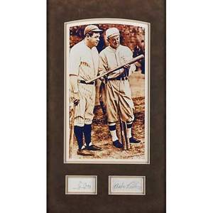 Ty cobb and babe ruth autographs both signatures cut and framed with a print of both players ruth signature1 14 x 2 14 all american collectibles authentication