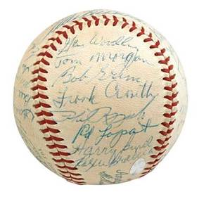 1954 new york yankees autographed baseball signed by thirtyfour players including yogi berra mickey mantle casey stengel and phil rizzuto all american collectibles certification