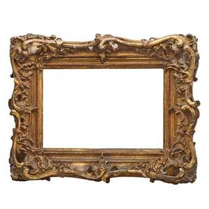 Italian baroque frame carved wood with gilt highlights 18th c frame 26 x 20 opening 18 x 12