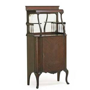 Victorian sheet music cabinet mahogany with mirrored back late 19th c 57 x 28 x 16 12