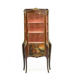 Vernis martin style vitrine mahogany with gilt metal mounts and single door on cabriole legs 20th c 65 x 27 x 16 12