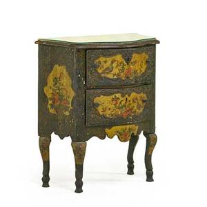 Italian rococo painted commode serpentine outline with two drawers on cabriole legs 18th19th c 32 x 29 12 x 14 34