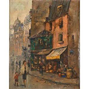 Jan korthals dutch 19161972 two oil on canvas parisian street scenes framed signed 20 12 x 16 18