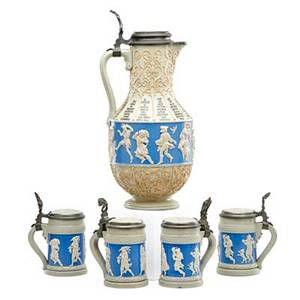 Villeroy  boch  mettlach stoneware drinking set four miniature steins and a pitcher with figural cameo relief decoration early 20th c all stamped 171 pitcher 14 12