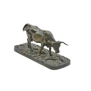 Rosa bonheur french 18221899 bronze sculpture of a longhorn cow signed 3 x 6 x 2 12