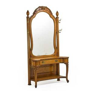 Victorian hall stand cartouche shaped mirror plate above a single drawer and platform shelf scroll legs late 19th c 83 12 x 45 x 19