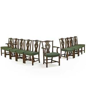 Set of chippendale style dining chairs ten with mahogany frames vasiform backs and padded seats 20th c armchair 38 x 23 x 19