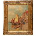 Karl ludwig friedrich wagner american 18391923 oil on canvas of a harbor scene framed signed 27 12 x 22 14