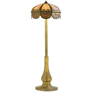 American leaded glass floor lamp brass and copper with octagonal paneled shade and columnar standard late 19th c 69 12 x 22 34