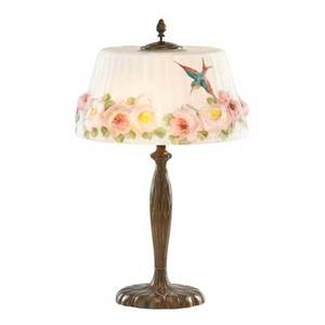 Pairpoint puffy devonshire table lamp the shade decorated with hummingbirds and roses on gilt metal base early 20th c shade and base signed 22 12 x 13 34 dia