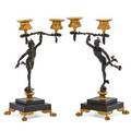 Pair of gilt bronze mounted silver candelabra hermes and aphrodite on stone bases 19th c 11 x 6 x 4 12