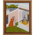 Mughal paintings two gouache and gilt on paper courtyard scenes 18th c framed largest 9 12 x 9 12