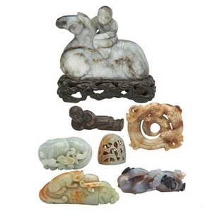Chinese jade and bronze seven pieces grey jade boy riding pony celadon jade animal agate brush rest song style bronze brush rest liao style jade vessel cover finial jade double happiness and a
